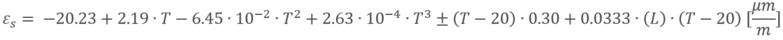 Polinomio térmico que incluye inclinación de cables e incertidumbre de medición