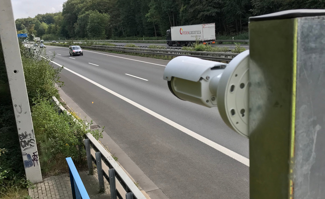 Installed video camera, recording the traffic flow.