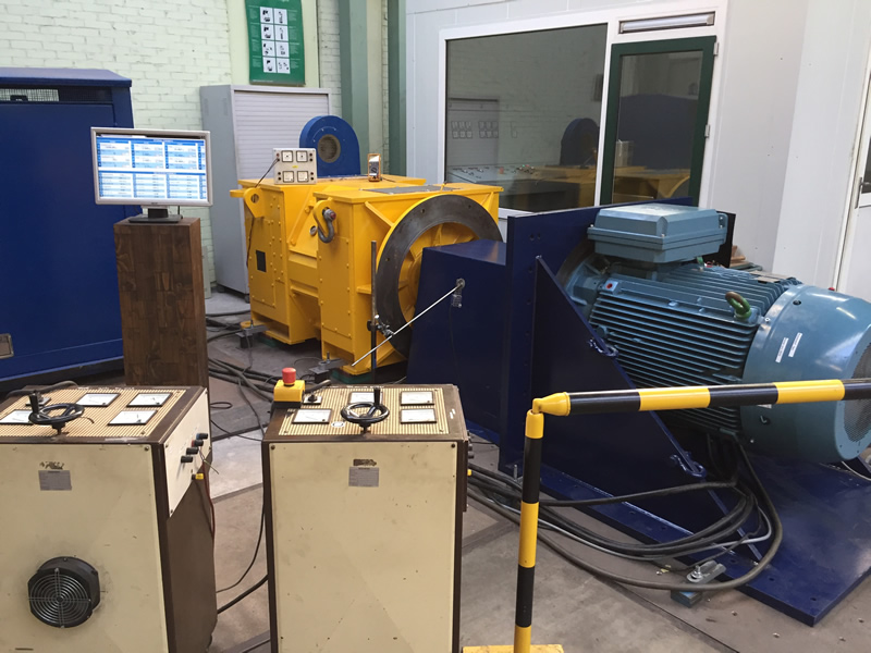 The electric motor test stand at Van Bodegraven.