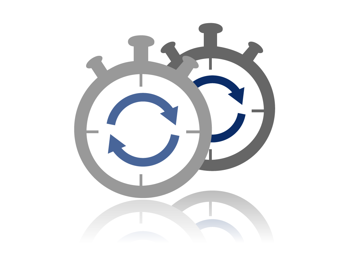 Pictogram depicting two clocks.