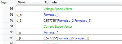 Example formula for calculation of the space vectors