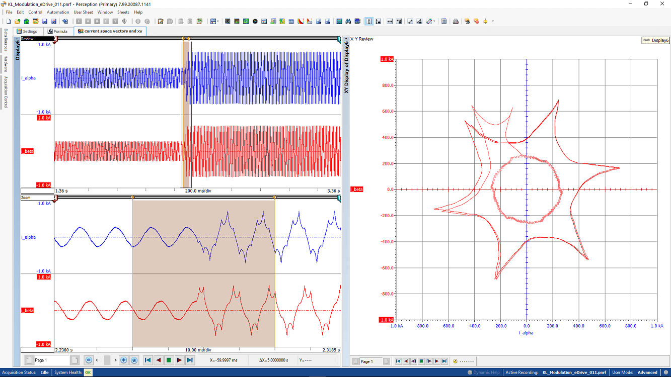 Modulation jump as space vectors and xy