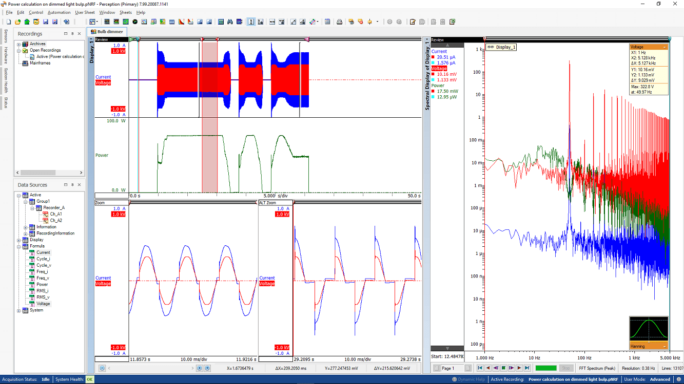 Bulb Dimmer data with FFT