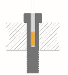 Bonding of bolt strain gauges step 1-sketch of the drilling
